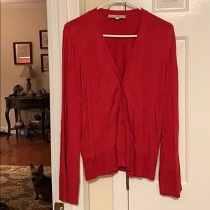 Red cardigan with bell sleeves